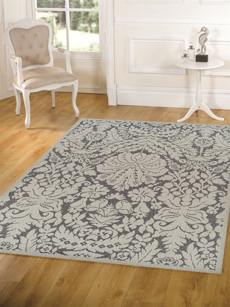 Indoor Outdoor Lace Damask Design Rug Grey 320x220cm