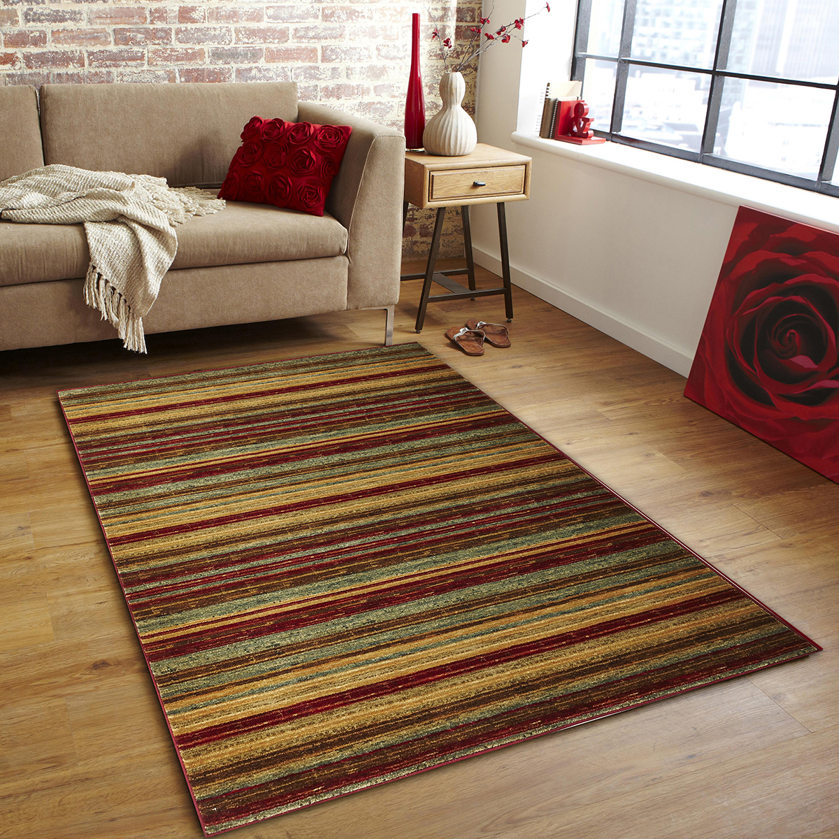 Rustic Stripe Stripped Rug Red 330x240cm Hagglehuge Online Furniture Store