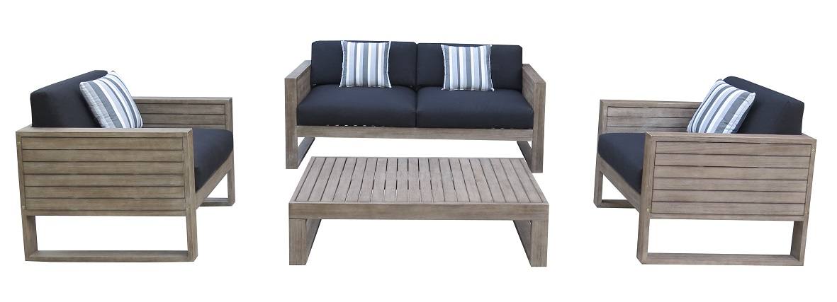 Ventura Double Lounge With Two Single Lounges And Cushions Hagglehuge Online Furniture Store